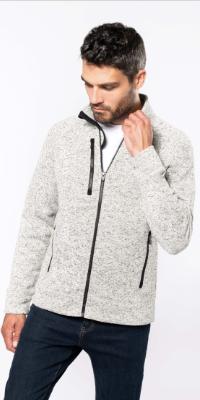 veste polaire homme chinée avec zip et poches