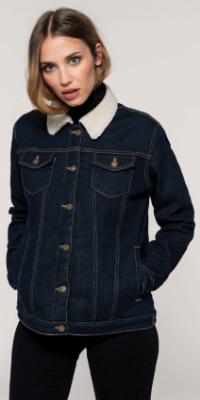 veste jean denim col couleur femme