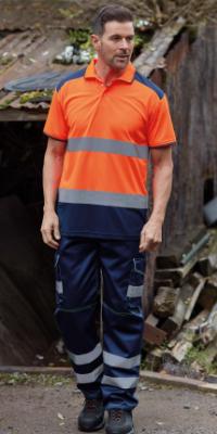 veste orange pantalon bleu haute visibilité